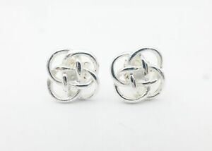 925-Sterling-Silver-Celtic-Quatrefoil-Knot-4-Four-Looped-Stud-Post-Earrings