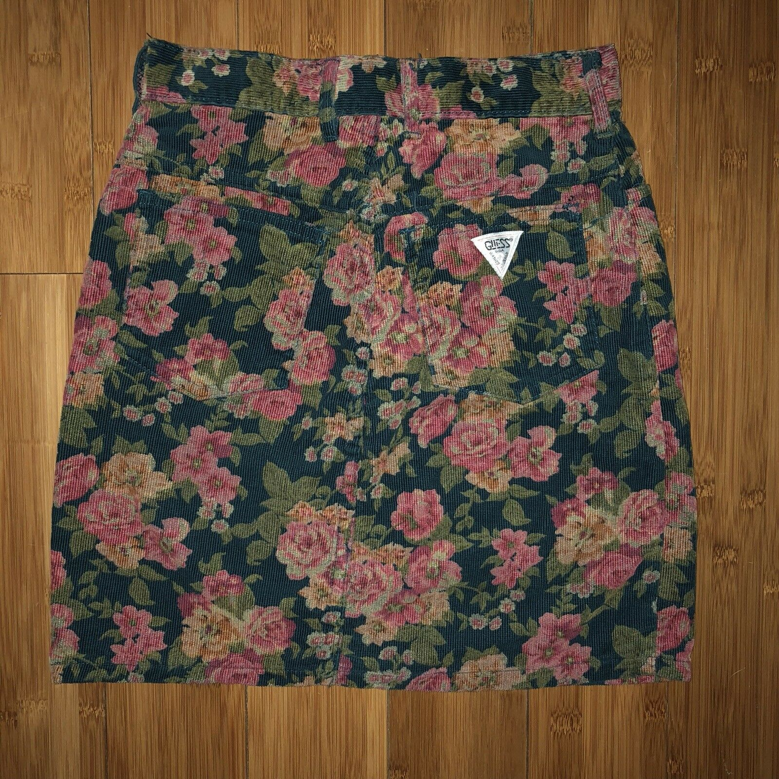 Vintage 80s 90s Guess Products Floral Corduroy Skirt Made In USA RARE Marciano