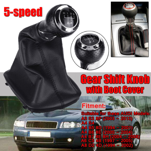 5 Speed Gear Shift Knob Stick Lever Gaiter Boot Cover For AUDI A3 8P A4 B5 B6