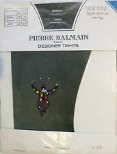 Pierre Balmain Medium Size Ultrafine Black Designer Tights with Harlequin Mofif