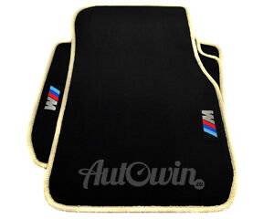 BMW-7-Series-E38-Black-Floor-Mats-Beige-Rounds-With-M-Emblem-With-Clips-NEW