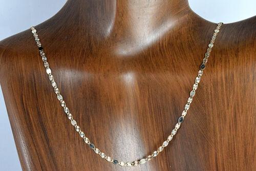 Cadena Plana de eslabones détenu Corte de strass y Chispa en 14k oro 2.15 mm solide