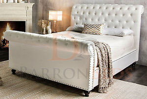 Scroll Bed Frame Upholstered Chesterfield Chenille Fabric