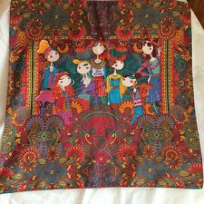 """Authentic NEW Love Moschino 21"""" Square Scarf w/ multi-color print of girls"""