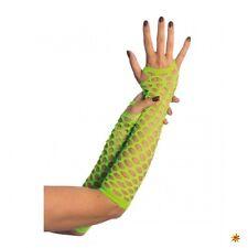 Netzhandschuhe neongrün fingerlos Cutout Muster grobe Maschen Fasching Neonparty