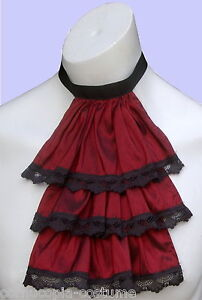 Mens-JABOT-CRAVAT-Victorian-Regency-Steampunk-costume-fancy-dress-Burgundy