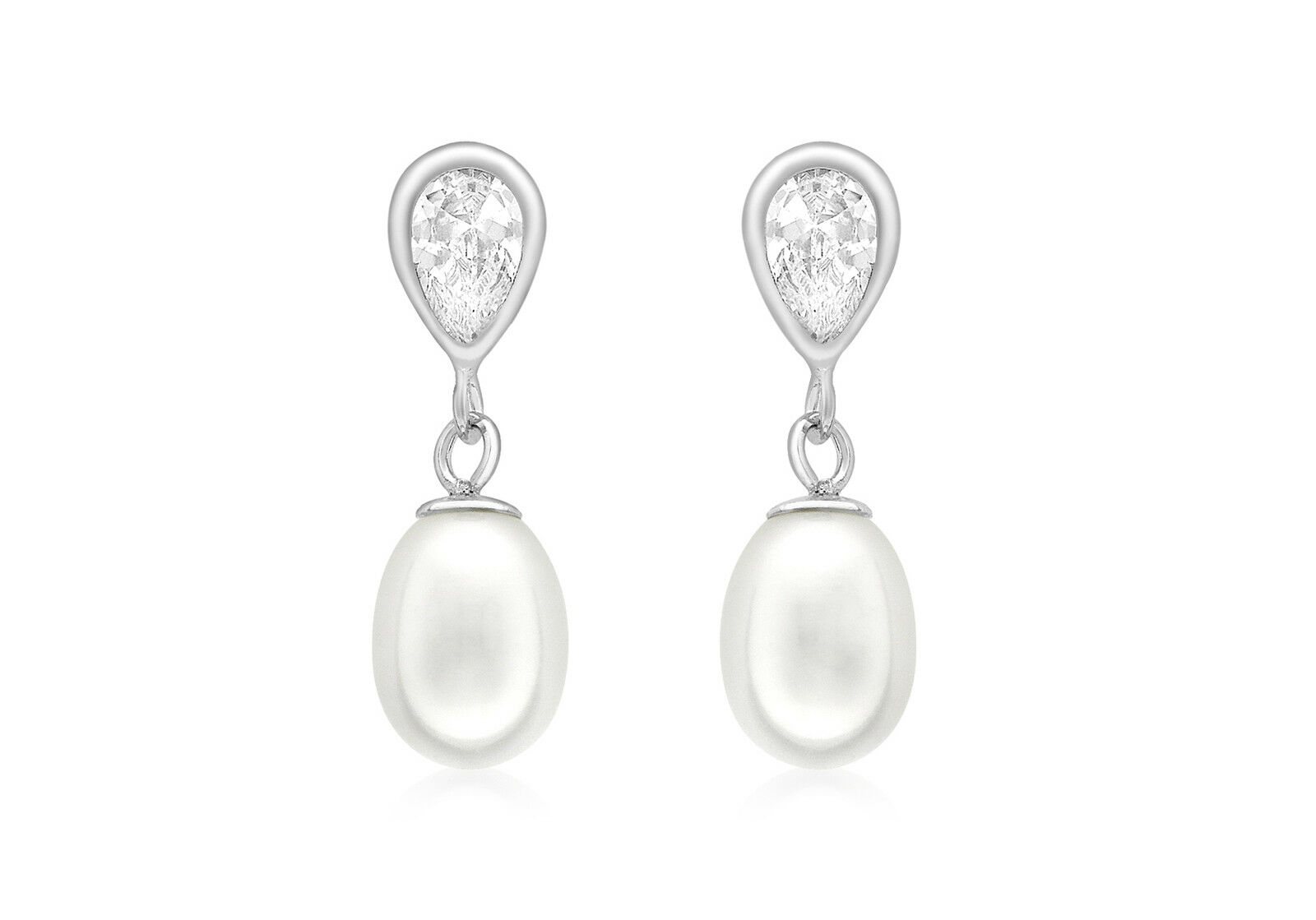 9ct White gold Pearl And CZ Teardrop Earrings Jewellery With Gift Box