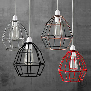 Vintage industrial style metal cage wire frame ceiling pendant image is loading vintage industrial style metal cage wire frame ceiling greentooth Gallery