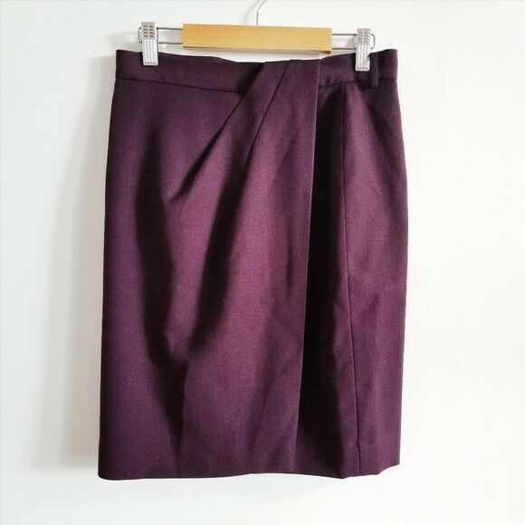 295 Dana Buchman Dark Purple Wool Pencil Skirt 8 Petite