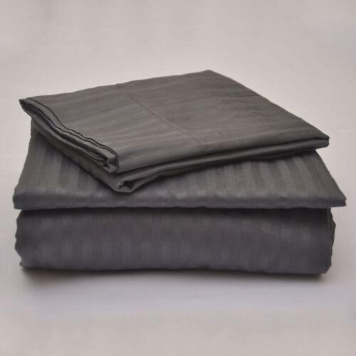 4 PCs Sheet Set Dark Grey Stripe 1000 Thread Count 100/% Egyptian Cotton USA Size