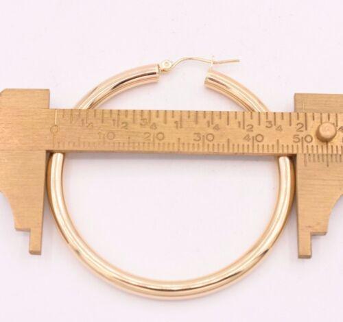 """4 mm x 50 mm 2/"""" Large Brillant Plain gras Boucles d/'oreilles Créoles Véritable 10K or Jaune"""