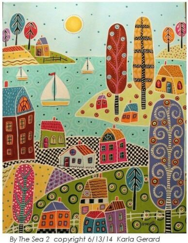 Rug Hooking Craft Paper Pattern BY THE SEA 2 Folk Art PRIMITIVE Karla Gerard