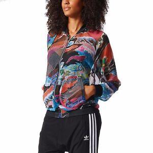 Details about adidas Originals Women LA Sheer Chiffon Colourful Summer Print Track Top Jacket