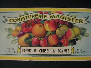 Details About Etiquette Ancienne 1930 40 Fruits Confitures Magister Cerise Pomme Chromo