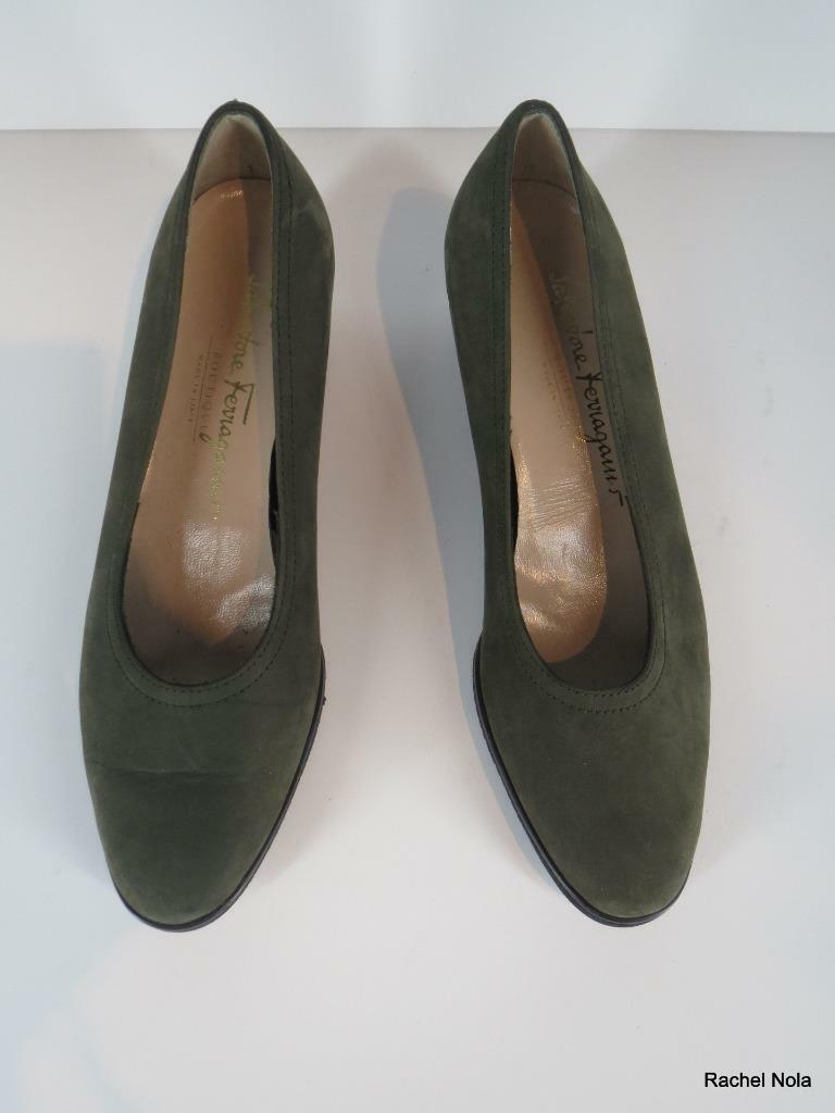 Ferragamo Wedge Flats Slieds Ballet S6.5 grön mocka Nubuck läder läder läder Klassisk  försäljning online rabatt