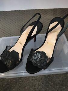 best service b17eb ed51d Details about Christian Louboutin Slingback Black Lace Sandals in black  satin size 38.5