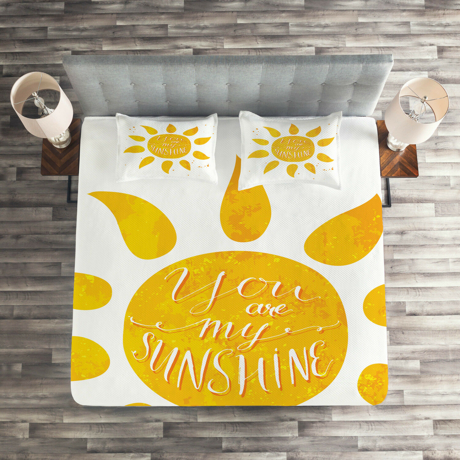 Yellow Quilted Coverlet & Pillow Shams Set, Sun Romance Quote White Print