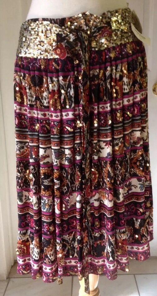 NWT DIANE VON FURSTENBERG 100% Silk Pleated Sequence Skirt Size 10 Retail  425