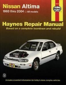 haynes repair manual haynes nissan altima 1993 thru 2004 rh ebay com 2005 nissan altima 2.5 repair manual 2005 nissan altima repair manual free
