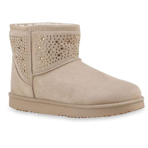 Warm Gefütterte Damen Boots Stiefeletten Schlupfstiefel Strass 813746 Schuhe