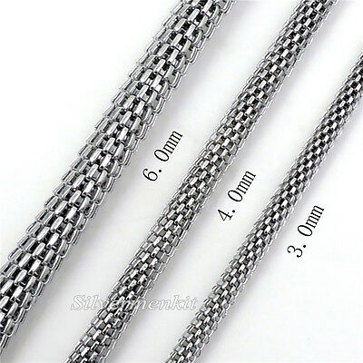 "Men Women 3/4/6MM Stainless Steel Hollow Round Snake Chain Necklace 20"" 24"" 30"""