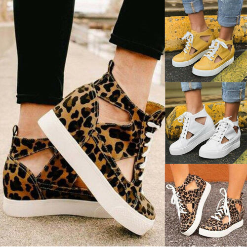 Womens Ladies Girls Casual Wedge Heel Pumps Comfy Trainers Sneakers Shoes Size