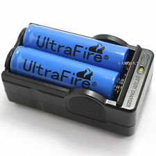 2 in 1 2 PCS 18650 3800mAh 3.7v li-ion Rechargeable Battery LED 2 Slots Charger