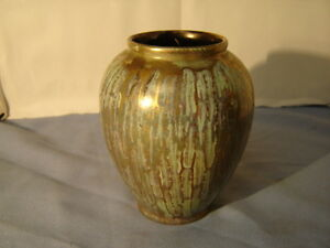 Vintage Mid Century Modern Green & Gold West Germany Vase