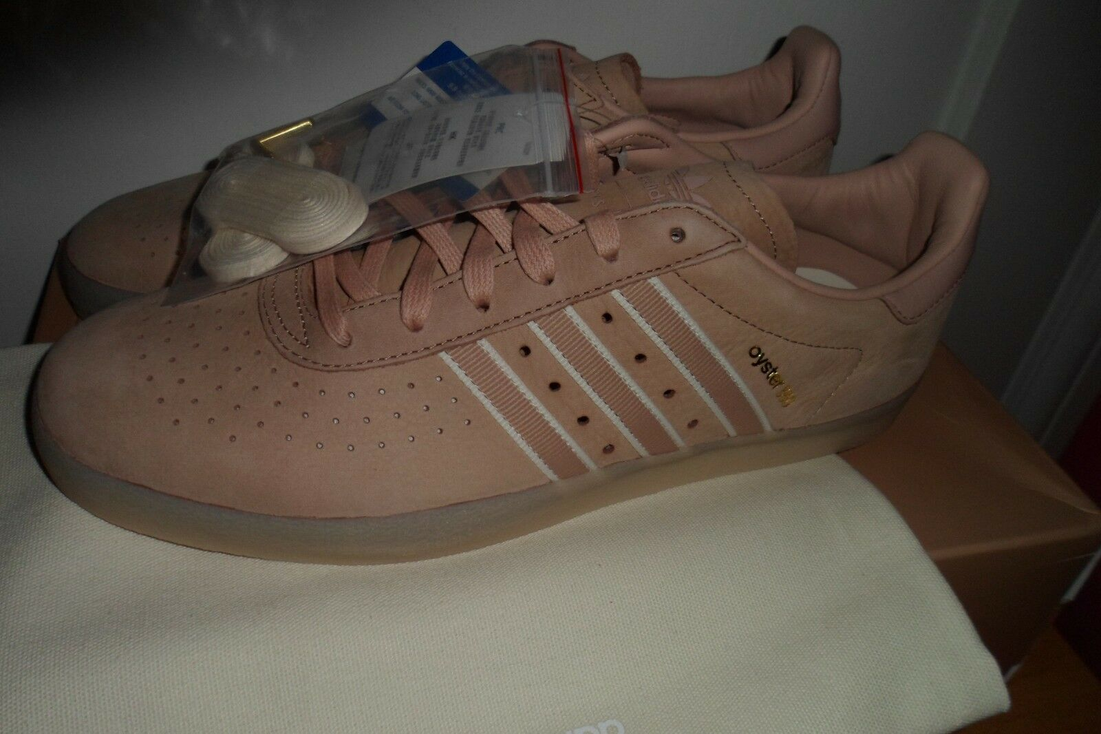 Adidas Originals x Oyster Holdings 350 in Ash Peach Core White gold DB1976 11.5