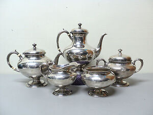 Image Is Loading Gorham Sterling Silver 5 Piece Coffee Tea Set