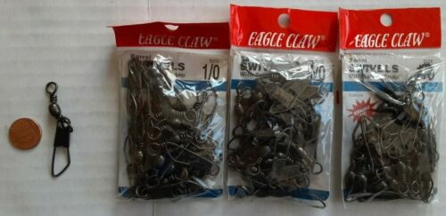 60-piece lot Eagle Claw Size 1//0 Barrel Swivel with Safety Snap T2-69
