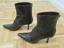 """JIMMY CHOO Brown """"Daisy"""" Kid Leather Ankle Boots w/ Gold Back Zipper - Size 37.5"""