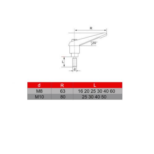 Kit de M8 Levier Écrou de Serrage Réglable Poignée de Serrage Blocage Alliage