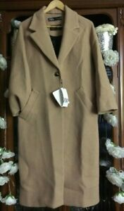 ZARA-SOLD-OUT-WOOL-BLEND-LONG-COAT-BUTTONS-SIZE-XS-Camel-2220-436-MANTECO