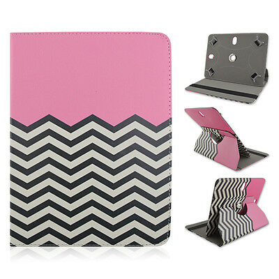 """For Lenovo A8 8"""" inch Tablet Chevron Pink Adjustable Folio Case Cover"""