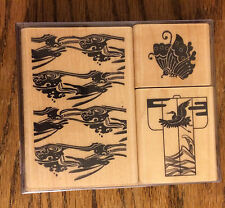 Set of 3 Rubber Stamps on Wooden Blocks-by Kodomo Inc-Kimono,Butterfly & Water