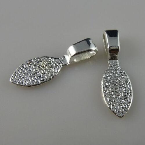 50PCS ton argent forme ovale Colle sur Bails Pendentif pour colliers Finding