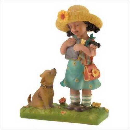 COUNTRY SCHOOL GIRL Doll /& Dog Statue Scultpure Figurine Gift Teacher Grad Desk