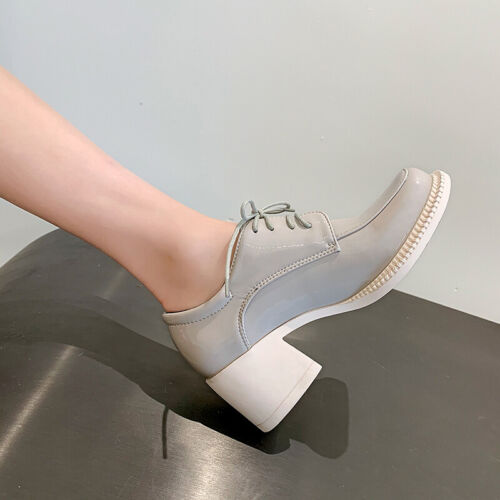 Details about  /Fashion Casual Faux Leather Women Shoes College Style Block Heel Lace Up Loafers