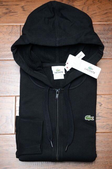 635e9757051d SALE Lacoste Men s Noir Black Cotton Hooded Jacket Hoodie Big   Tall ...