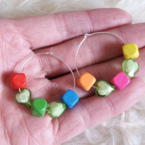 NEW Hot Ladies Uneven Random Color Multi Beads Heart Ring Huggie Hook Earrings