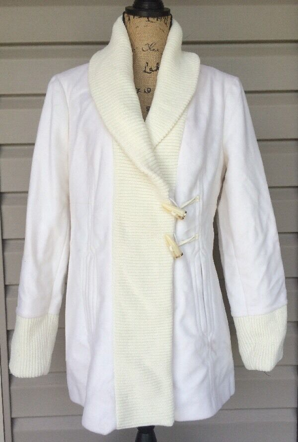 VINCE CAMUTO WOMENS WOOL CARDIGAN SWEATER PEA COAT CREAM WHITE LARGE NEW