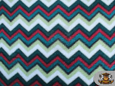 "Fleece Printed Winter Fabric Chevron Christmas Theme / 58"" W/ BTY S-579"