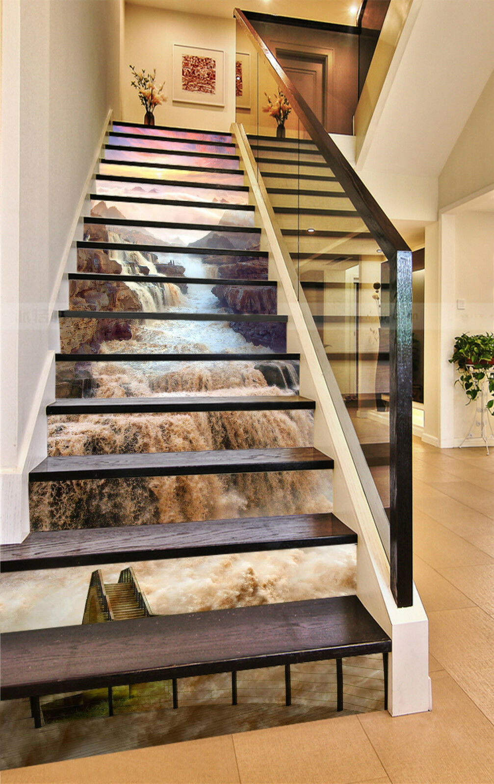 3D Hukou Wasserfall Stair Risers Dekoration Fototapete Vinyl Aufkleber Tapete DE