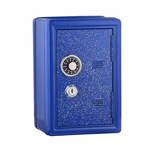NEW Kids Safe Bank Made of Metal with Key and Combination Lock Blue SHIPS FREE