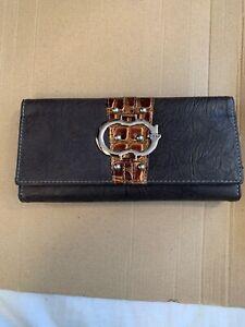 Brown-Long-Design-Wallet-Buckle-Folding-Wallet-Faux-Leather-Women-Purse