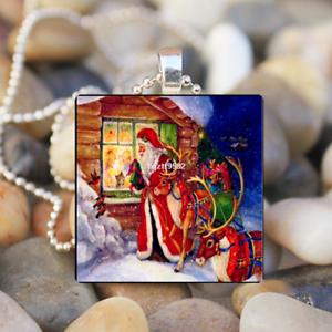 Vintage Santa Claus Noël Hiver Neige Vacances Verre Carrelage Collier Pendentif #9