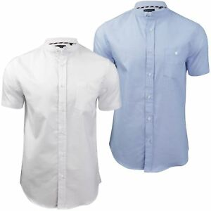 Brave-Soul-Men-039-s-Grandad-Collar-Oxford-Shirt-039-Tribune-039-Slim-Fit-Short-Sleeve
