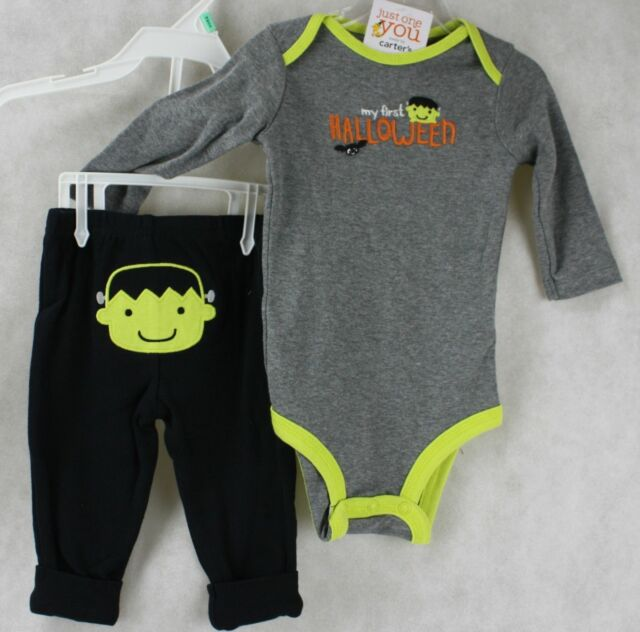 8020f1c15 Halloween Carter's My First Halloween Gray Bodysuit Black Pants Newborn NWT