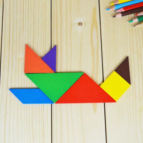 7Piece Magic Wooden Puzzle Tangram Brain Teaser Kid Educational Game Toy UK S/_wk